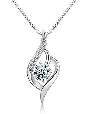 Candira 925 Sterling Silber Fuchsschwanz Anhänger Halskette 45 cm Kette