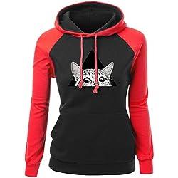 NiSeng Mujer Impresión Linda Del Gato Encapuchado Camisa Pullover Invierno Otoño Sudadera Con Capucha Hoodies Sweatshirt Rojo&Negro S