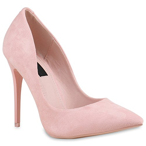 Stiefelparadies Spitze Damen Pumps Stilettos Lack High Heels Elegant Schuhe 133893 Rosa Rosa 38 Flandell