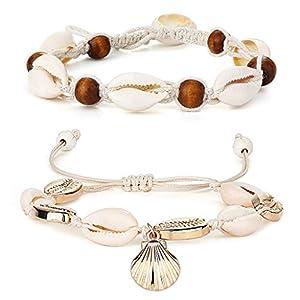 BE STEEL 2 STÜCKE Boho Fußkettchen Armband für Frauen Mädchen Shell Strand Perlen Knöchel Fuß Kette Einstellbare Sommer Schmuck