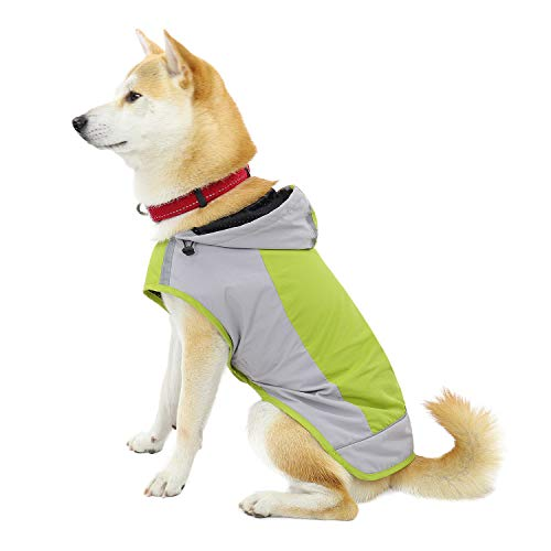 PAWZ Road Hund Regenmantel mit Kapuze Kragenloch Sichere Reflektierende Streifen Wasserdichte Regenjacke für kleine Mittel Große Hunde Yellow 2XL