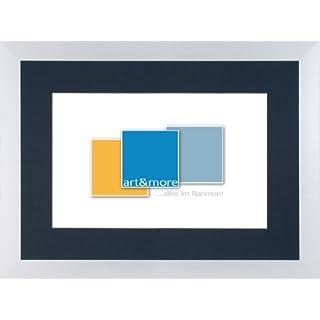 Bilderrahmen, Aluminium-Bilderrahmen 30 x 30 cm, 2 St., silber matt gebürstet, Passepartout in schwarz, Ausschnitt für 20 x 20 cm