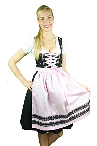 Fuchs Jugend Dirndl rosa schwarz 60er Länge Rosa Schwarz