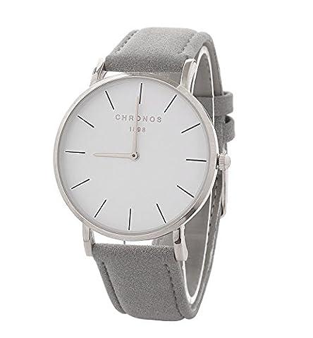 Mode Schöne Damenuhren Quarzuhr PU Uhrenarmband Kleid Armbanduhr Armbanduhren für Damen Armbanduhren für (Münze Silber Fall)
