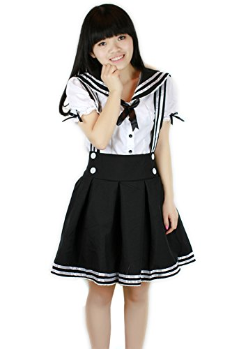 L-email Hochwertige Trau Outfits Sexy Lolita Maid Dienstmädchen Kostüm School Girl Schul Uniform Karneval Einheitsgröße (M, WSJ28 schwarz) (Sailor Uniform Girl)