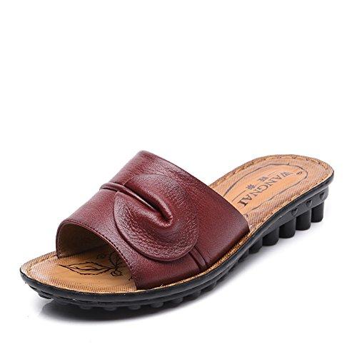 Lady slipper/Centrale inferiore morbido e scarpe invecchiate donne vecchie/Pantofole antiscivolo resistente casa mamma-A Lunghezza piede=24.8CM(9.8Inch)