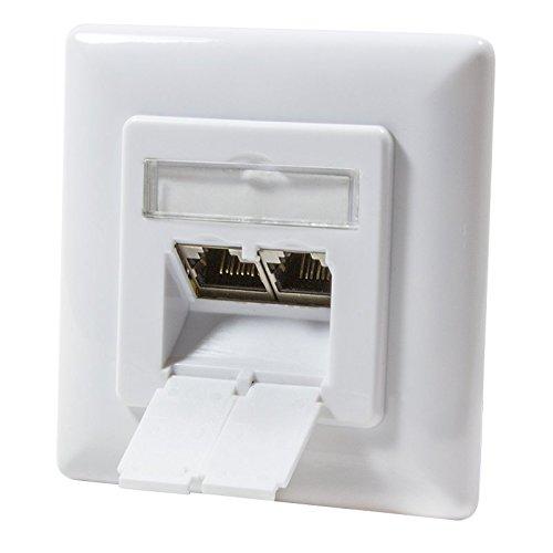 odedo CAT 6A Netzwerkdose Anschlussdose 2X RJ45 bis 10 Gigabit 500 MHz, geschirmt STP unterputz Dose Netzwerk Flush Mount Wall Jack