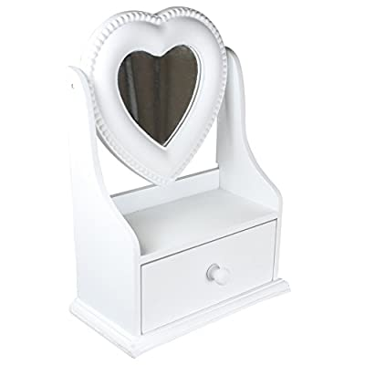 Childrens Jewellery Box in Dressing Table Mirror Design with Heart Shaped Mirror (H23cm)