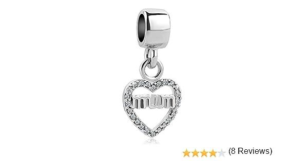 motivo cuore amore Uniqueen charm per braccialetti con perline di cristallo