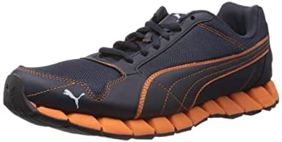 Puma Men's Kevler Runner New Navy, Flue Orange and White Fabric Running Shoes - 3 UK/India (35.5 EU)