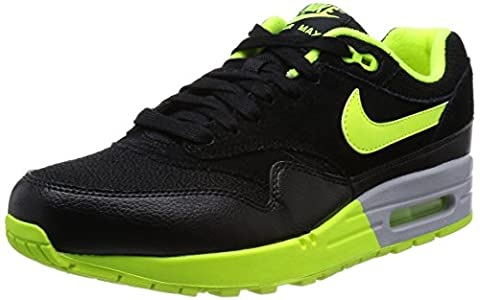 Nike Air Max 1, Chaussures de running femme - Multicolore (Black/Volt/Wolf Grey), 39 EU