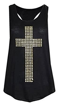 WOMENS STUDDED CROSS VEST TOP T SHIRT (S/M (8-10))