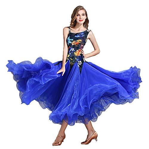 ZXYYUE Erwachsenes Mädchen Drucken Ärmellos Walzer Modern Dance Kleider Tolle Schaukel A-line National Standard Ballsaal Performance-Kleider Tango Foxtrot ()