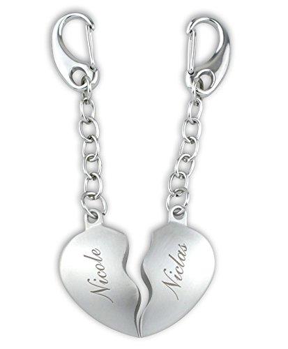 Herz Schlüsselanhänger geteilte Herzen INKLUSIVE GRAVUR ❤ Geschenk für Paare & Verliebte