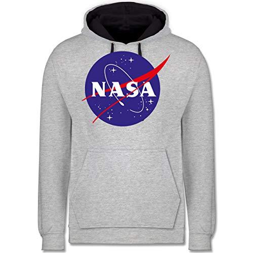 Shirtracer Nerds & Geeks - NASA Meatball Logo - XL - Grau meliert/Navy Blau - JH003 - Kontrast Hoodie