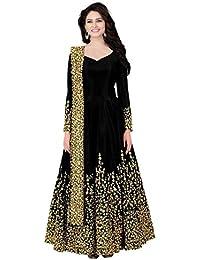 fcba949c31a Hub Women s Embroidered Taffeta Silk Anarkali Gown With Dupatta (Semi  Stitched Free Size)