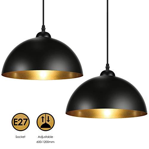 Albrillo Lampadari a Sospensione Vintage Industriale, diametro 30cm per lampadine LED E27, lampada a Sospensione Moderno per Salotto, Soggiorno, Ristorante, Paralume in Metallo Nero e Oro, 2 PCS