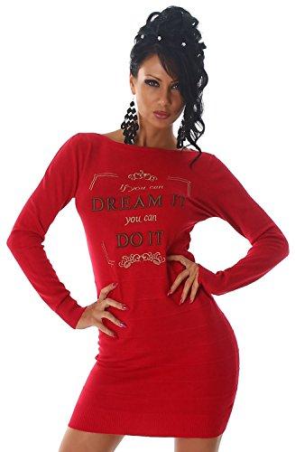 Luxestar Damen Strickkleid & Pullover mit Print, rot Größe (Kleider Disco Sexy)