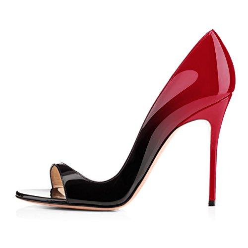 Damen Pumps Sommer Sandalen Peep Toe D'Orsay High-Heels Glitzer Stiletto Schwarz Rot B EU44