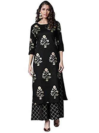 Women Top Palazzo Set With Kurta New Latest Creap Clothes In Multi Color Variation (FREE-SIZE UP To XXL) (Black)