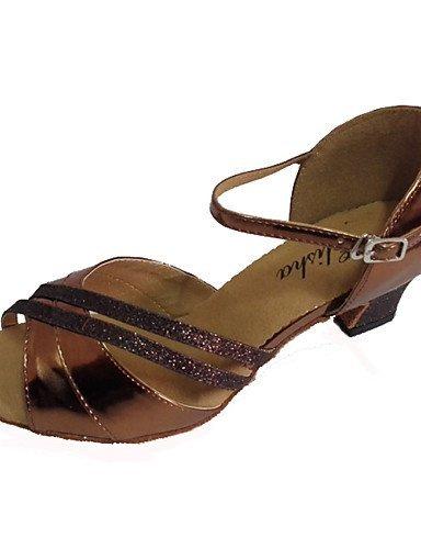 ShangYi Chaussures de danse(Marron / Violet / Rouge / Argent) -Personnalisables-Talon Personnalisé-Similicuir / Paillette Brillante-Latine / Salsa bronze