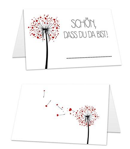 25 hochwertige Tischkarten (8,5 cm x 5,5 cm) weiß mit Herzblume und Aufdruck'Schön, dass du da bist!' zum selbst beschriften, Platzkarten ideal für Hochzeit oder Geburtstagsfeier (25)