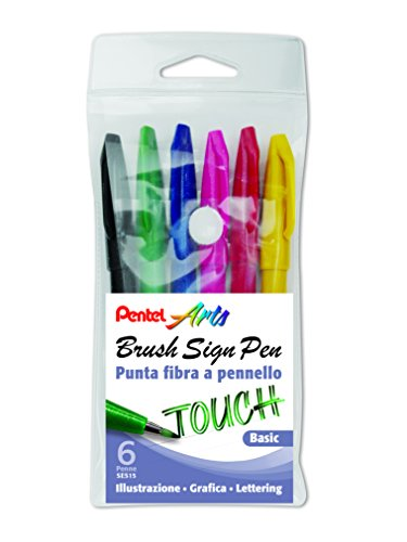 Pentel Brush Sign Pen pennarello con punta fibra pennello 6 pz colori basic