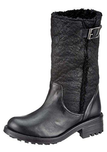 Heine Damen-Lederstiefel m. Textilschaft zum Schlupfen schwarz Schwarz