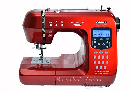 Necchi Rosso 200 Quilting Edition Sewing Machine, Fully Computerised, Full Alphabet and Numbers, Can Sew with or without Pedal - Limited Offer.
