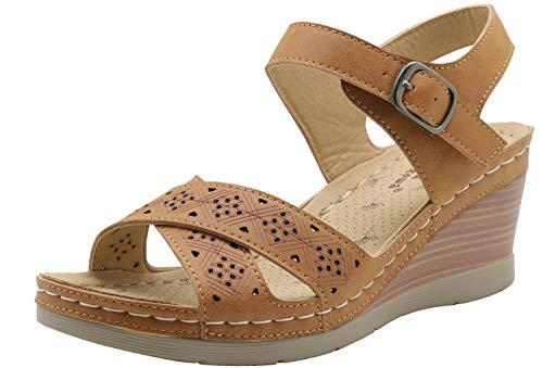 Apakowa Damen Gladiator Peep Toe Cross Strap Mid Wedge Heel Strappy Summer Slingback Comfy Sandale, Braun - braun - Größe: 40 EU -