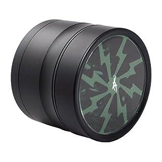 thorinder 50mm Mini Kräutermühle 4Stück Farbe grün Crusher Premium Qualität Aluminium mit Pollen Catcher & Gratis Kelle