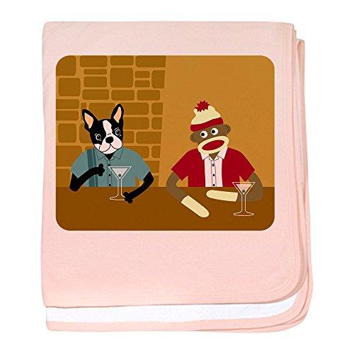 CafePress–Boston Terrier Socke Affe Infant Decke–Baby Decke, Super Weich Für Neugeborene Wickeldecke petal pink