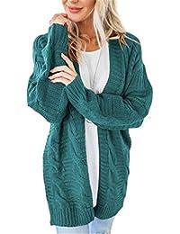 OtoñO E Invierno Casual Ladies Sweater Color SóLido Twist Cardigan Abrigo De Longitud Media
