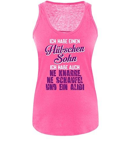 Luckja Ich habe einen hübschen Sohn Damen Tanktop Fuchsia/Weiss/Violett