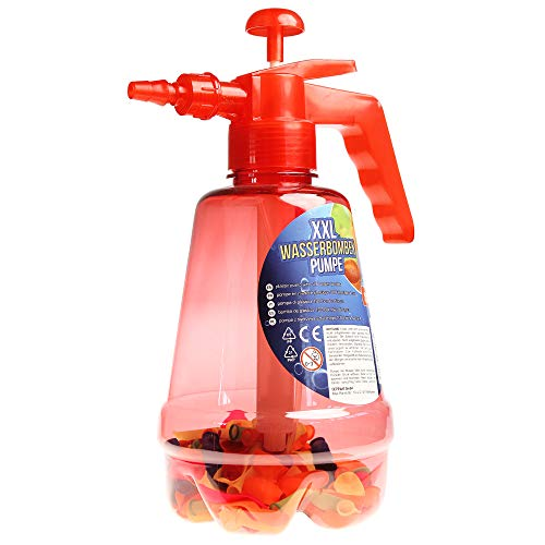 Monsterzeug Wasserbombenfüller, Pumpe mit 100 Wasserballons, Wasserschlacht, Wasserbomben schnell befüllen, rot