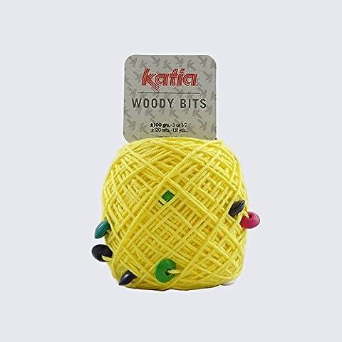 Katia Woody 55 punte, colore: giallo limone, 1 palla, 1 sciarpa 100 g, 35% cotone, 35% acrilico, 30% legno, 120 m, con ferri di 4, 6 mm