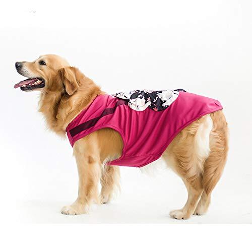 ZDJR Hundekühlweste, atmungsaktive Hundekühlweste mit Sonnendicht und Tasche, Anzug zum Gehen, Übungsklettern,Red,M -