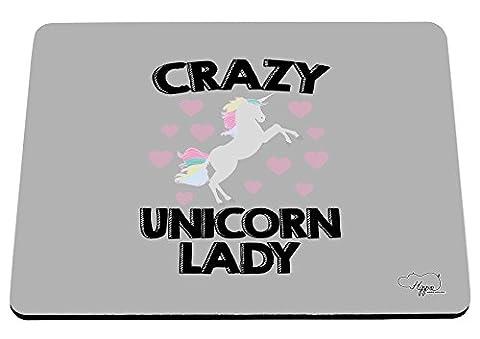 Hippowarehouse Crazy Licorne Lady Imprimé Tapis de souris accessoire de base en caoutchouc Noir 240mm x 190mm x 60mm, Violet/orange, taille