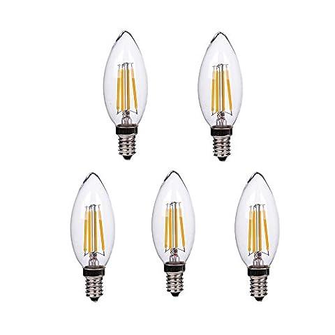 HimanJie 5er E14 LED Kerzenlicht 4W Warmweiss Glühfaden LED Kerze Filament Lampe Fadenlampe LED Candle Light Bulb Flammenspitze Chandelier 220V