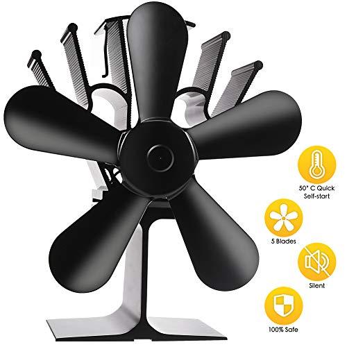 5 Flügel Ofenventilator, ZOTO Stromloser Ventilator Stummschaltung + Doppelte Sicherheit, Hitze Powered Kaminventilator für Holz/Holzofen/Kamin