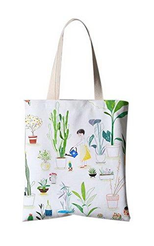 Japanischer Art-Blumen-Illustrator Leinentaschen Reise-Einkaufstasche Ein Bewässerungs-Mädchen (Bewässerung Mädchen Blume)