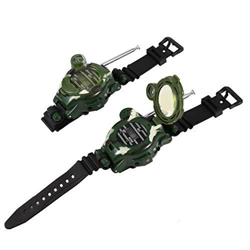 YAGAIU Walkie Talkie für Kinder 7in1 Camouflage Walkie-Talkie Uhr Lupe Taschenlampe Spiegel Kompass Armband Walkie Talkie Eltern-Kind-Outdoor interaktive Kinder Spielzeug(2 Pack)