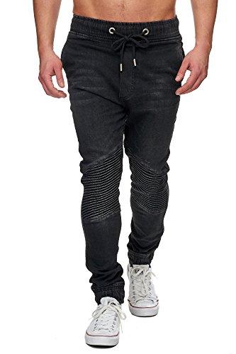 TAZZIO Biker Style Jogg Herren Jeans 16505 Schwarz