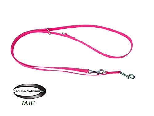 MJH Führleine BETA-BioThane 3-fach verstellbar 2m/9mm pink für Hunde bis ca. 12kg