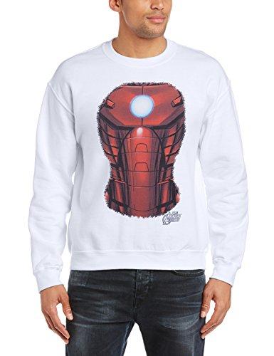 Marvel Herren Sweatshirt Avengers Assemble Iron Man Chest Burst Weiß - Weiß