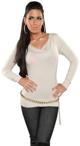Koucla avec cascade pull pour femme taille unique (36–40) Beige - Beige