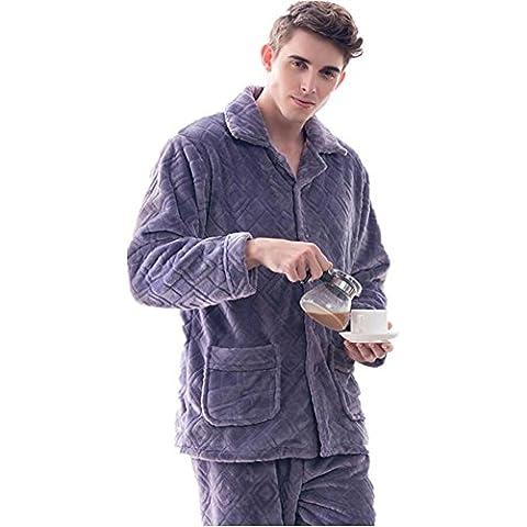 GJX Coral gruesa Varonil polar pijamas de manga larga franela caliente en otoño e invierno ropa