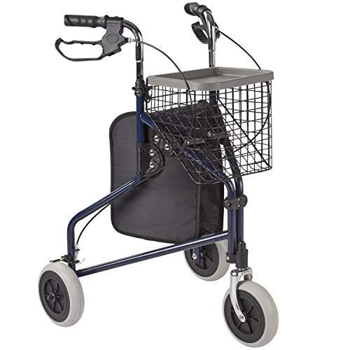 """Rehaforum Medical Rollator \""""3 Rad\"""", Gehhilfe Gehwagen mit 3 Rädern Tablett Korb & Tasche, leicht & faltbar, Feststellbremse, max. 120 kg"""