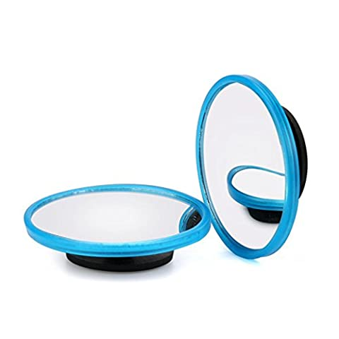 sunnymi® 2Pcs Car Blind Spot Mirror Rearview 2 Side Wide Angle Round Convex Mirror (Blue)