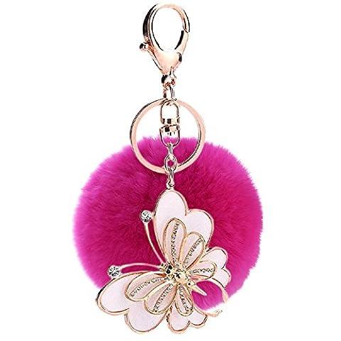 Hangnuo 8cm boule de fourrure de faux avec papillon porte-clés charmes pour les femmes sacs porte-clés de voiture
